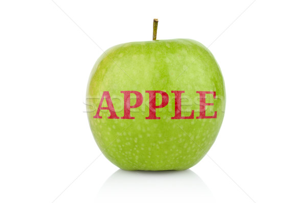 Studio shot of green apple with inscription Apple isolated Stock photo © dla4