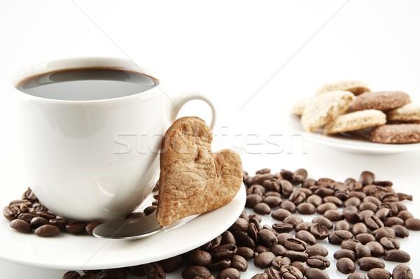 Taza café cookie corazón desayuno café negro Foto stock © dla4