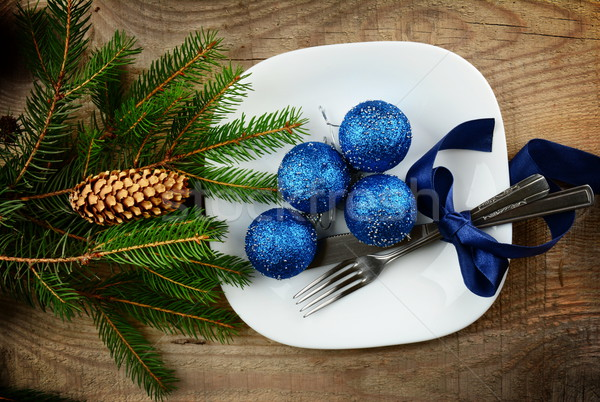 Christmas plate blue baubles pines wooden surface Stock photo © dla4