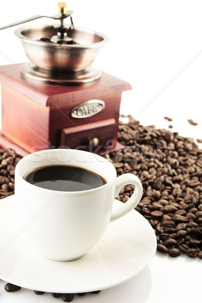 Csészék kávé csészealj malom fehér kávéscsészék Stock fotó © dla4