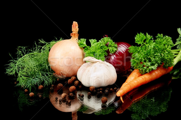 Onions,red onions with carrots isolated on black Stock photo © dla4
