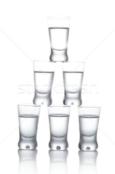 Veel bril wodka geïsoleerd witte Stockfoto © dla4