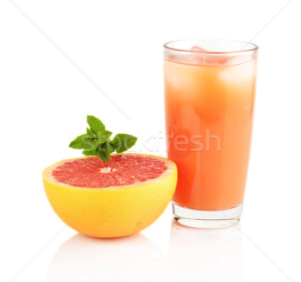 Studio shot sliced grapefruit with juice with mint isolated white Stock photo © dla4