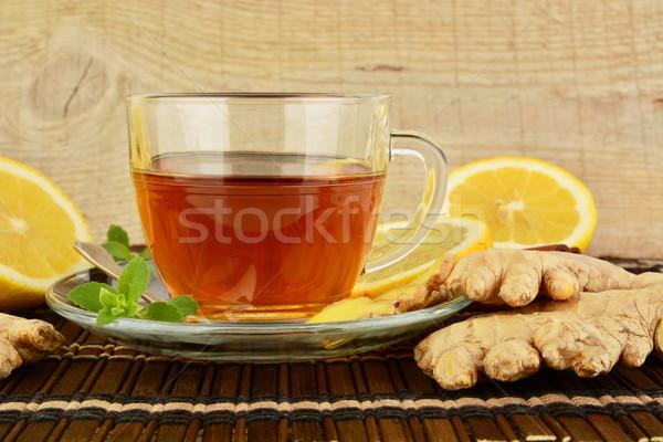Foto stock: Jengibre · marrón · limón · menta · hoja