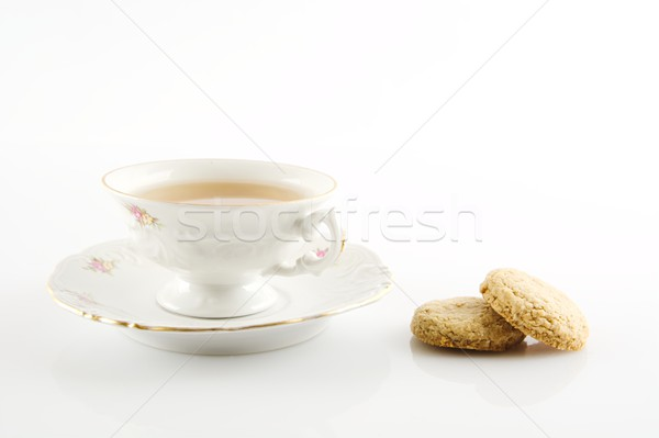Vintage tasse thé cookies blanche Photo stock © dla4