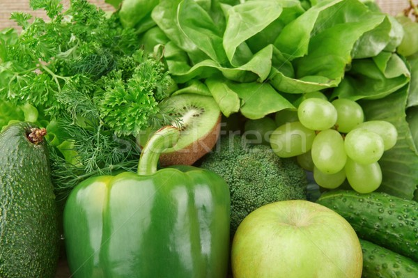 Set of green vegetables and fruits for detox Stock photo © dla4