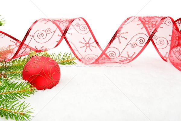 Piros karácsony csecsebecse tűk fenyő szalag Stock fotó © dla4