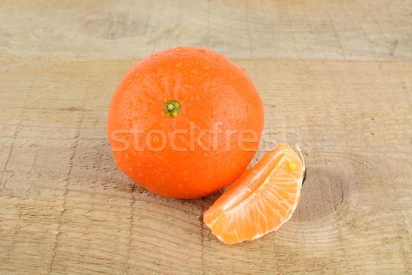Stukken geïsoleerd houten tafel mandarijn witte Stockfoto © dla4