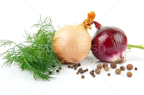 Onion,red onion,dill,pepper and allspice isolated on white Stock photo © dla4
