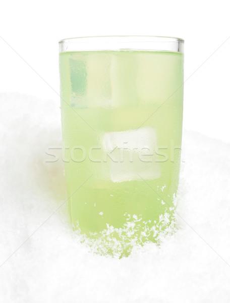üveg citrus dzsúz jégkockák hó fehér Stock fotó © dla4