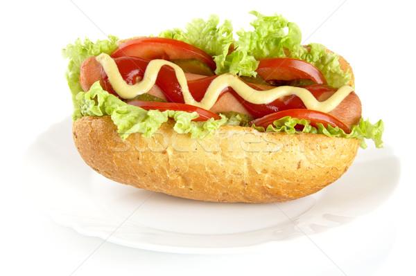 Hot dog hozzávalók tányér fehér hotdog kutya Stock fotó © dla4
