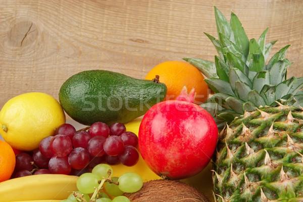 Diétás szett paleo diéta gyümölcsök fából készült Stock fotó © dla4