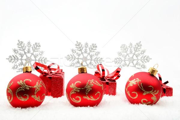 Vermelho natal presentes flocos de neve neve decoração Foto stock © dla4