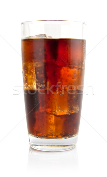 Glass of cola with ice cubes isolated on white Stock photo © dla4