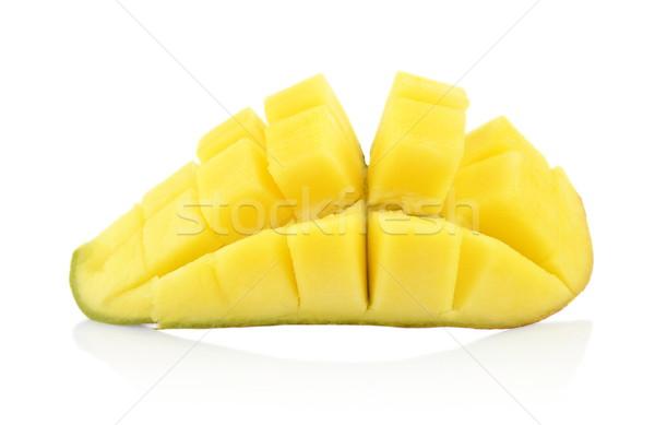 Ripe mango section isolated white background Stock photo © dla4