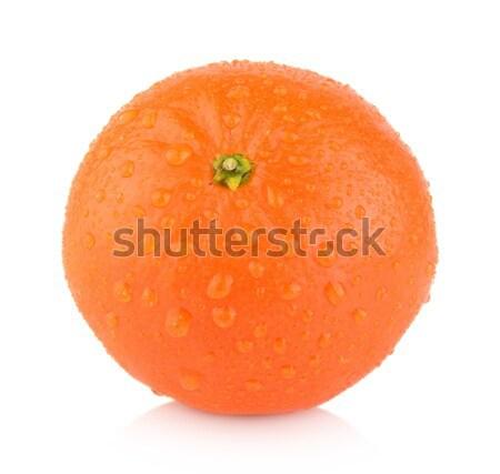 Studio shot wet one,single mandarine isolated on white Stock photo © dla4