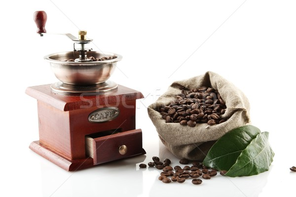 Foto stock: Completo · granos · de · café · hojas · verdes · molino · bolsa