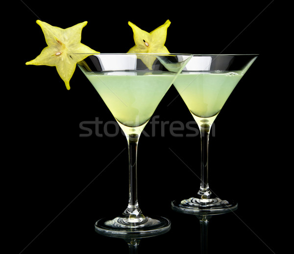 Cropped view of cosmo margarita drinks on black Stock photo © dla4