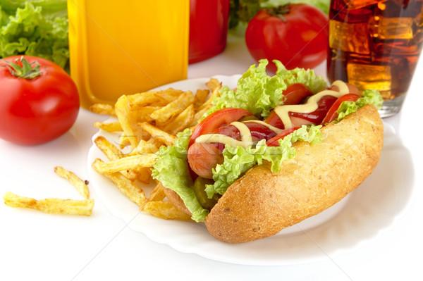 Hotdog komkommer plaat witte hot dog salade Stockfoto © dla4