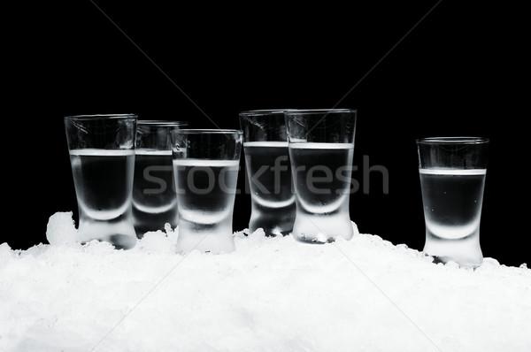 Wiele okulary wódki stałego lodu czarny Zdjęcia stock © dla4