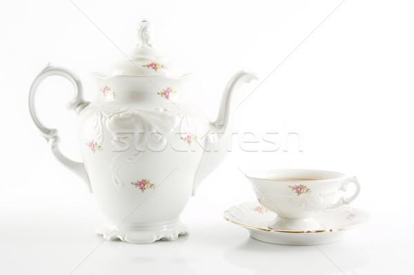 Retro jarra té blanco taza de té Foto stock © dla4
