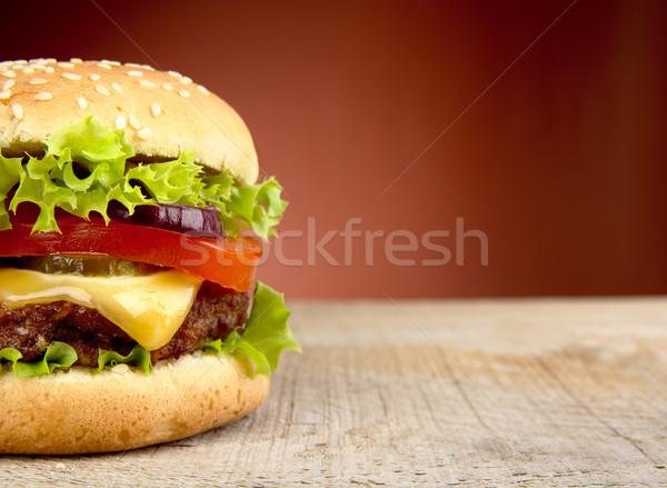 Grande cheeseburger vermelho refeição fast-food americano Foto stock © dla4