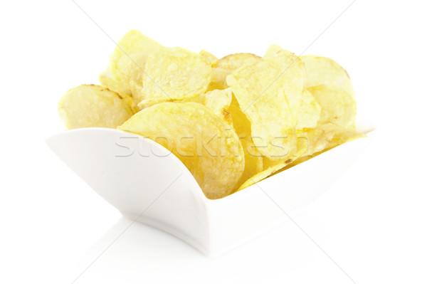 Sózott burgonyaszirom tál fehér étel csoport Stock fotó © dla4