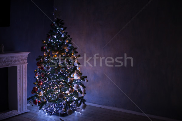 Stok fotoğraf: Noel · ağacı · ışıklar · ev · Noel · ışık · kutu