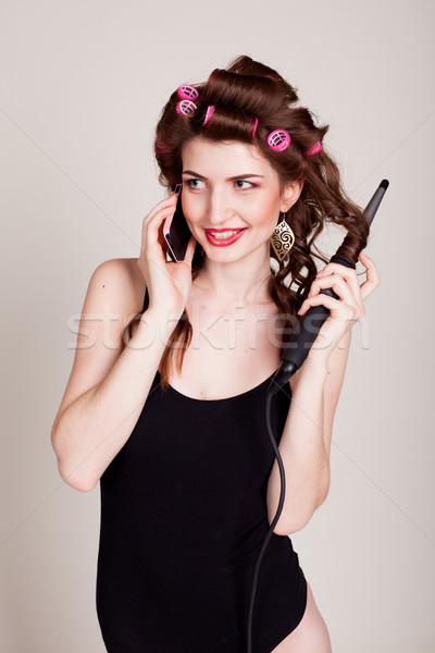Lány haj beszél telefon hajviselet nevet Stock fotó © dmitriisimakov