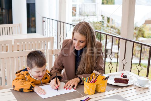 Anya fiú rajz rajz színes ceruzák Stock fotó © dmitriisimakov