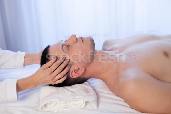 Stok fotoğraf: Erkek · masör · masaj · spa · sağlık · göz