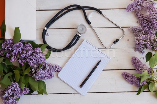 Tablo stetoskop defter yalan beyaz Stok fotoğraf © dmitriisimakov
