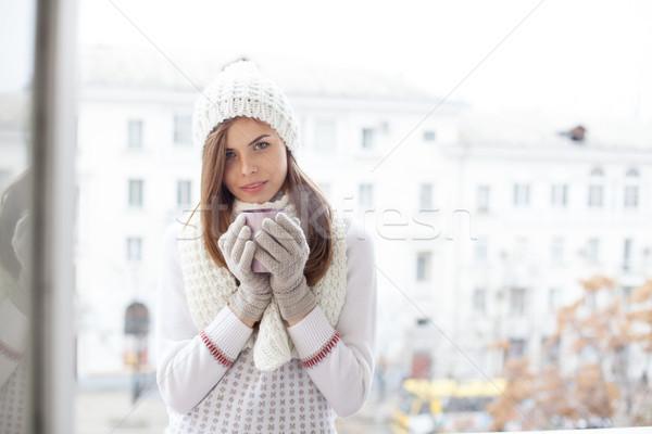 少女 通り 冷たい ドリンク コーヒー 茶 ストックフォト © dmitriisimakov