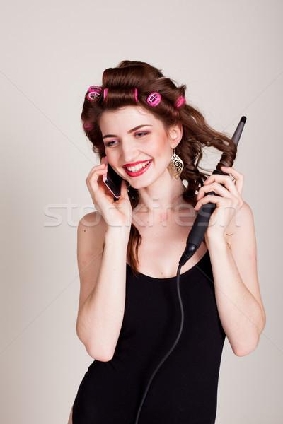 Menina cabelo falante telefone penteado negócio Foto stock © dmitriisimakov