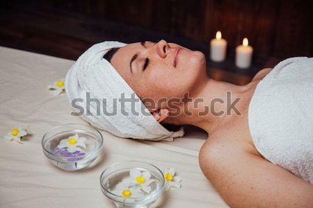 Beautiful girl estância termal massagem sauna mulher corpo Foto stock © dmitriisimakov