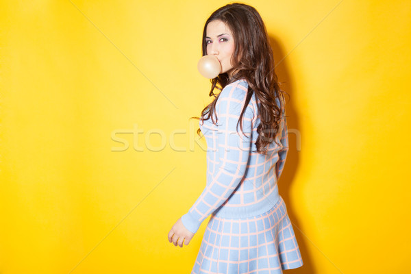 the girl with the kid tricked bubble Stock photo © dmitriisimakov