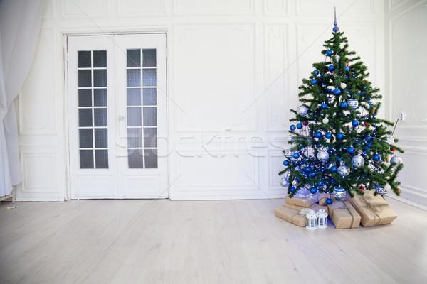 Stockfoto: Kerstboom · Blauw · witte · kamer · speelgoed · christmas