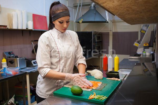 Kadın şef sushi restoran mutfak siyah Stok fotoğraf © dmitriisimakov