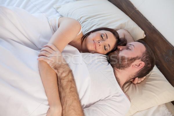 Hombre mujer marido esposa cama Foto stock © dmitriisimakov