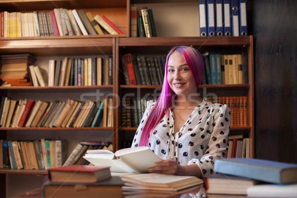 женщину розовый волос книгах библиотека книга Сток-фото © dmitriisimakov