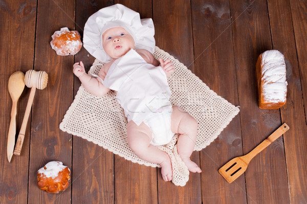 the baby cook flour buns bread Stock photo © dmitriisimakov