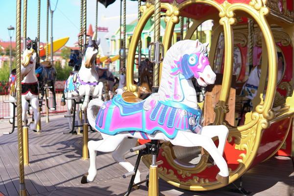 Kid kleurrijk carrousel paard leuk gelukkig Stockfoto © dmitriisimakov