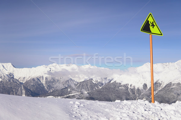 Hauteur montagnes ski Resort signe sport Photo stock © dmitriisimakov