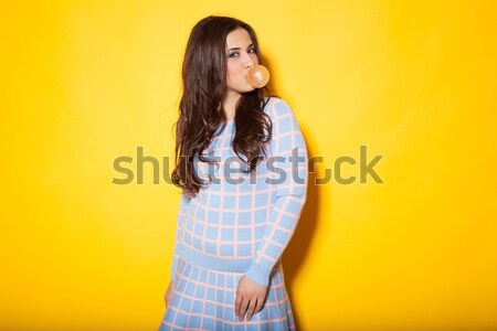 Stock photo: girl tricked bubble of chewing gum