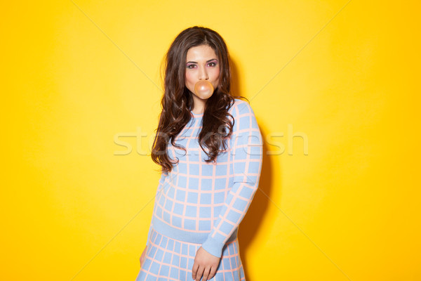 girl tricked bubble of chewing gum Stock photo © dmitriisimakov