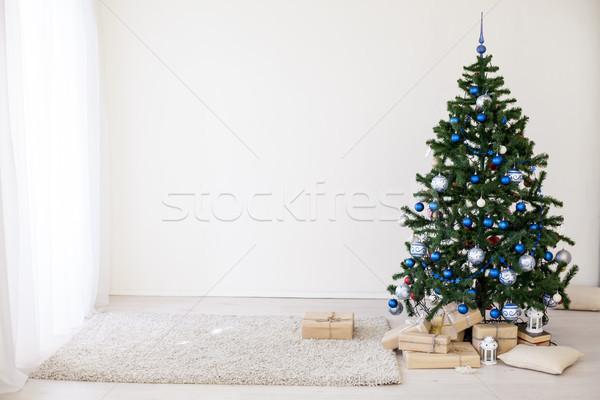рождественская елка синий белый комнату игрушками Рождества Сток-фото © dmitriisimakov