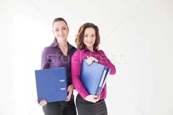 Business meisje mappen documenten papier werk Stockfoto © dmitriisimakov
