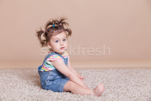 funny girl with pigtails in summer Stock photo © dmitriisimakov