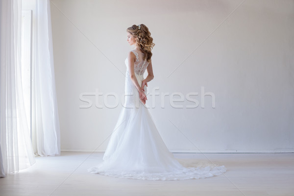 girl bride in a white dress wedding dress beautiful Stock photo © dmitriisimakov