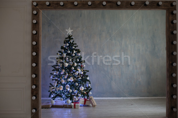 Christmas tree with lights Garland homes for the new year Stock photo © dmitriisimakov